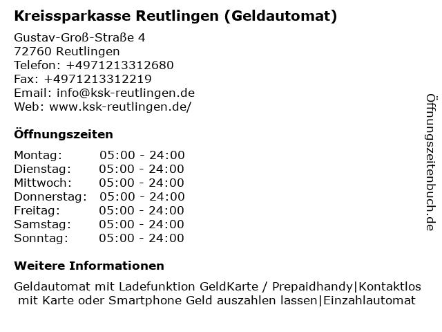 Kreissparkasse Reutlingen - (Geldautomat Filiale) in Reutlingen: Adresse und Öffnungszeiten
