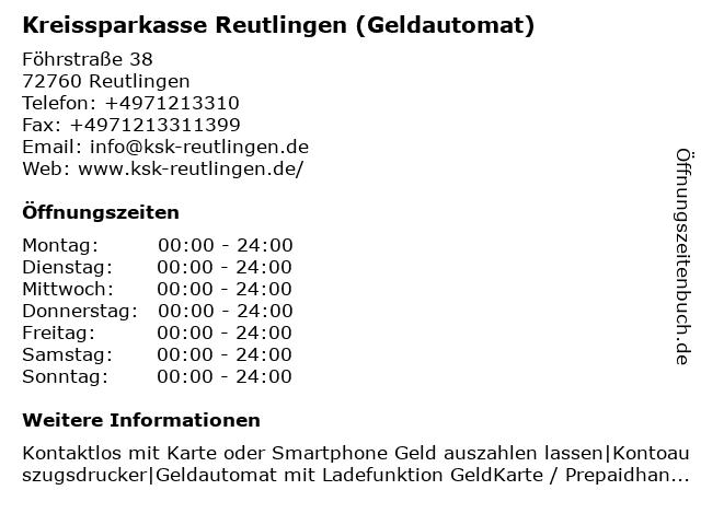 Kreissparkasse Reutlingen - (Geldautomat REWE, Föhrstraße ) in Reutlingen: Adresse und Öffnungszeiten