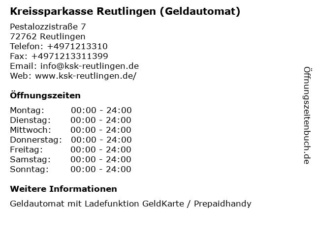 Kreissparkasse Reutlingen - (Geldautomat Penny, Pestalozzistraße) in Reutlingen: Adresse und Öffnungszeiten