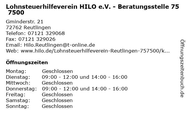 Lohnsteuerhilfeverein HILO e.V. - Beratungsstelle 75 7500 in Reutlingen: Adresse und Öffnungszeiten