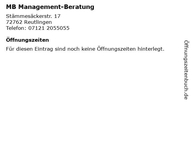 MB Management-Beratung in Reutlingen: Adresse und Öffnungszeiten
