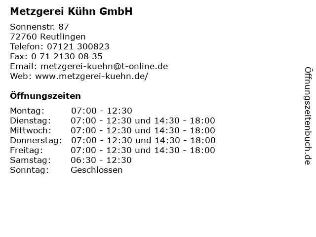 Metzgerei Kühn GmbH in Reutlingen: Adresse und Öffnungszeiten