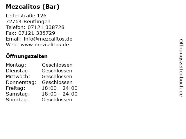 Mezcalitos (Bar) in Reutlingen: Adresse und Öffnungszeiten