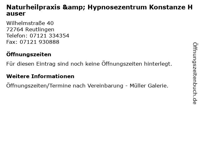 Naturheilpraxis & Hypnosezentrum Konstanze Hauser in Reutlingen: Adresse und Öffnungszeiten