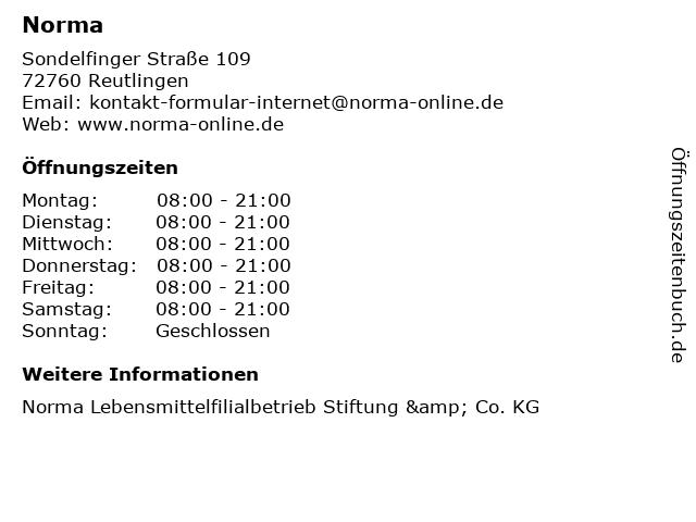 Norma in Reutlingen: Adresse und Öffnungszeiten