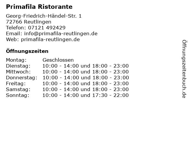 Primafila Ristorante in Reutlingen: Adresse und Öffnungszeiten