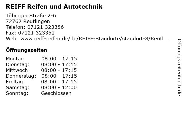 REIFF Reifen und Autotechnik in Reutlingen: Adresse und Öffnungszeiten