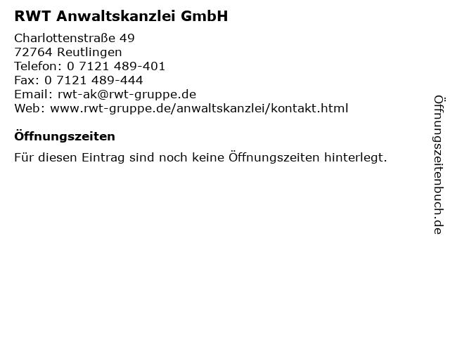 RWT Anwaltskanzlei GmbH in Reutlingen: Adresse und Öffnungszeiten
