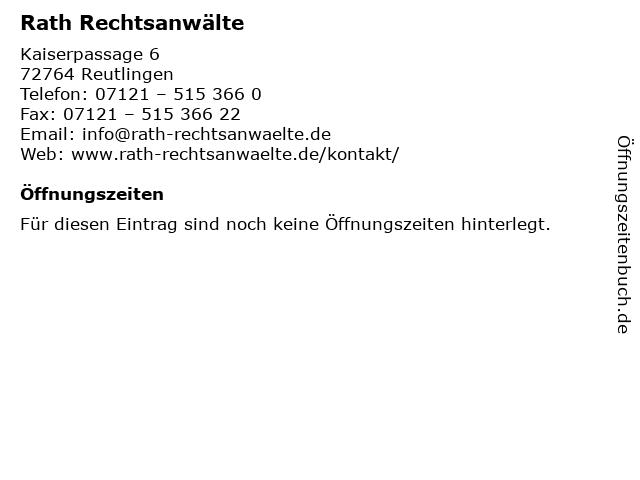 Rath Rechtsanwälte in Reutlingen: Adresse und Öffnungszeiten