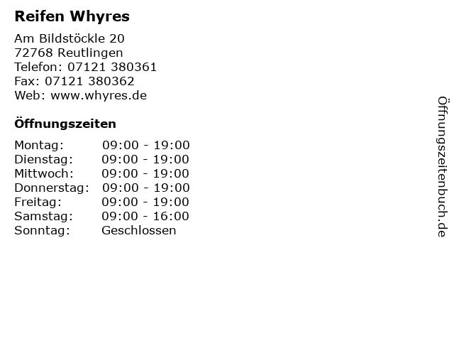 Reifen Whyres in Reutlingen: Adresse und Öffnungszeiten