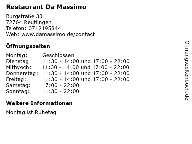 Restaurant Da Massimo in Reutlingen: Adresse und Öffnungszeiten