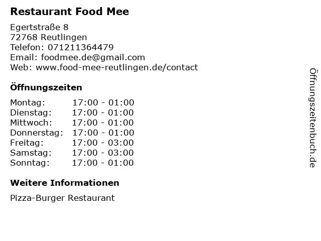 Restaurant Food Mee in Reutlingen: Adresse und Öffnungszeiten