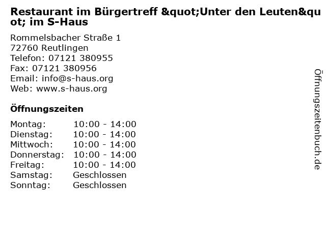 """Restaurant im Bürgertreff """"Unter den Leuten"""" im S-Haus in Reutlingen: Adresse und Öffnungszeiten"""