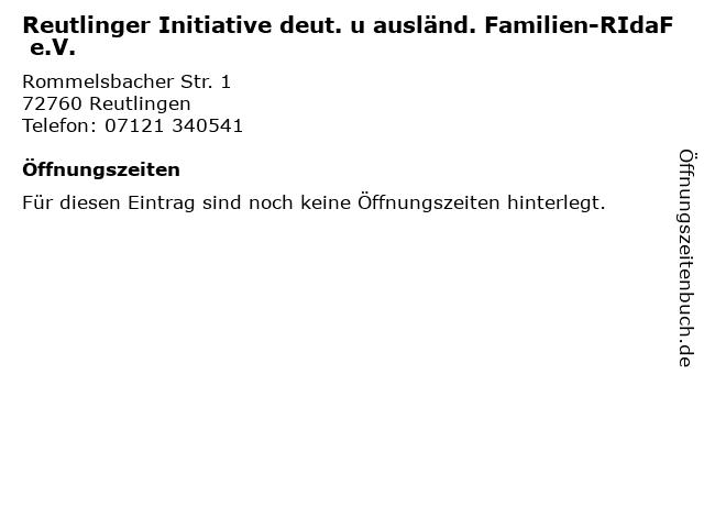 Reutlinger Initiative deut. u ausländ. Familien-RIdaF e.V. in Reutlingen: Adresse und Öffnungszeiten
