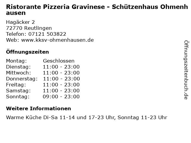 Ristorante Pizzeria Gravinese - Schützenhaus Ohmenhausen in Reutlingen: Adresse und Öffnungszeiten