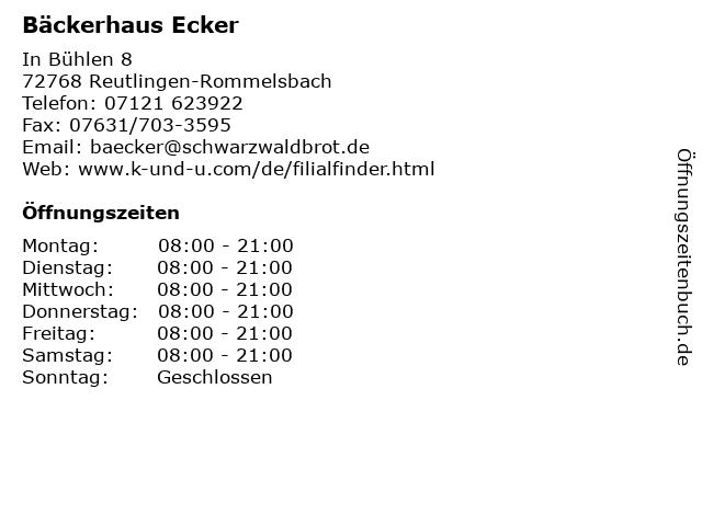 Bäckerhaus Ecker in Reutlingen-Rommelsbach: Adresse und Öffnungszeiten