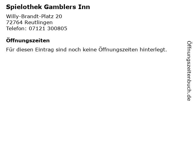 Spielothek Gamblers Inn in Reutlingen: Adresse und Öffnungszeiten