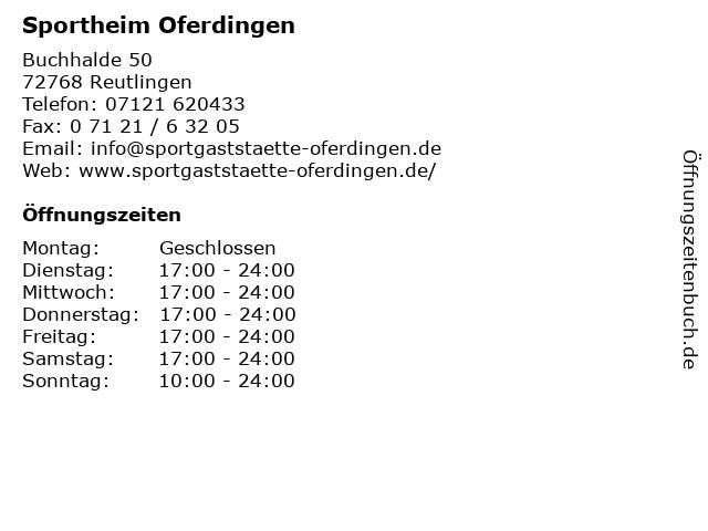 Sportheim Oferdingen in Reutlingen: Adresse und Öffnungszeiten