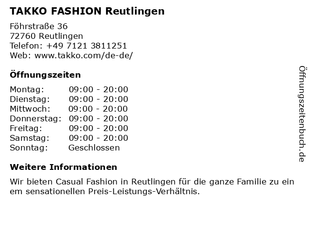 Takko Fashion in Reutlingen: Adresse und Öffnungszeiten