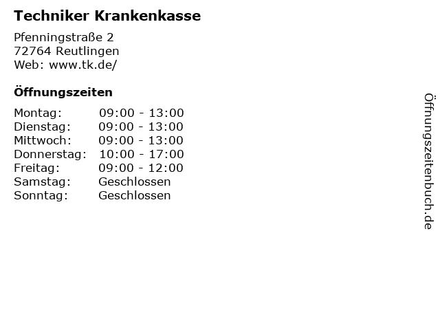 Techniker Krankenkasse in Reutlingen: Adresse und Öffnungszeiten