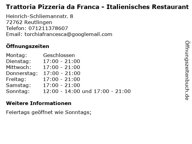 Trattoria Pizzeria da Franca - Italienisches Restaurant in Reutlingen: Adresse und Öffnungszeiten