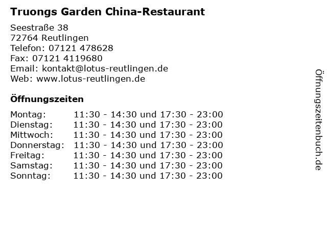 Truongs Garden China-Restaurant in Reutlingen: Adresse und Öffnungszeiten