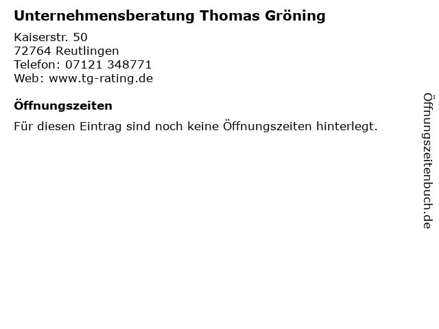 Unternehmensberatung Thomas Gröning in Reutlingen: Adresse und Öffnungszeiten