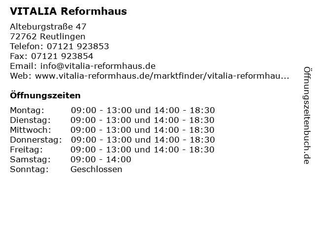 VITALIA Reformhaus in Reutlingen: Adresse und Öffnungszeiten