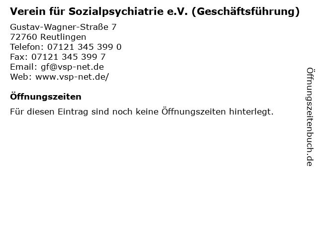 Verein für Sozialpsychiatrie e.V. (Geschäftsführung) in Reutlingen: Adresse und Öffnungszeiten