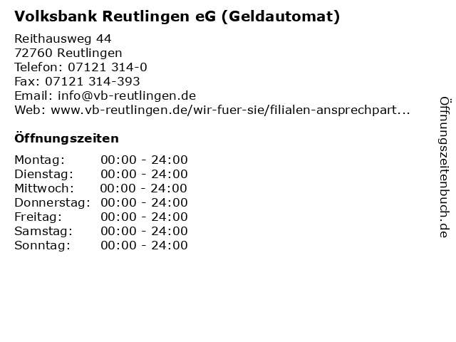Volksbank Reutlingen eG (Geldautomat) in Reutlingen: Adresse und Öffnungszeiten