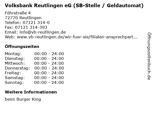 Volksbank Reutlingen eG (SB-Stelle / Geldautomat) in Reutlingen: Adresse und Öffnungszeiten