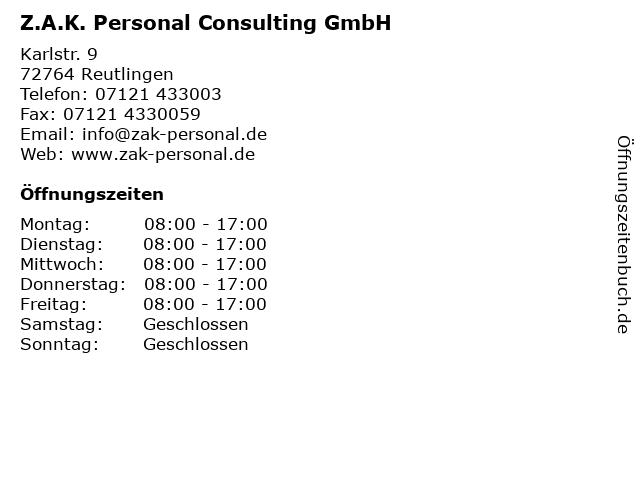 Z.A.K. Personal Consulting GmbH in Reutlingen: Adresse und Öffnungszeiten