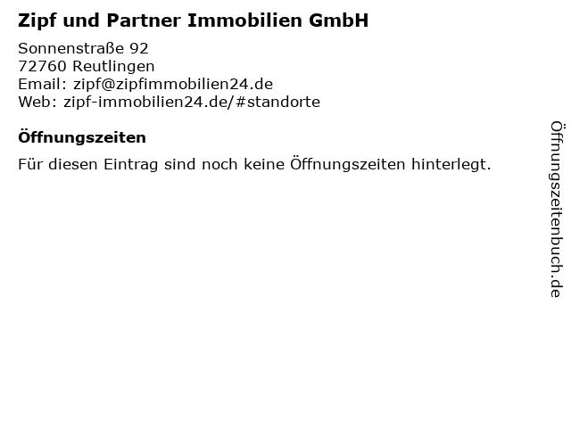 Zipf und Partner Immobilien GmbH in Reutlingen: Adresse und Öffnungszeiten