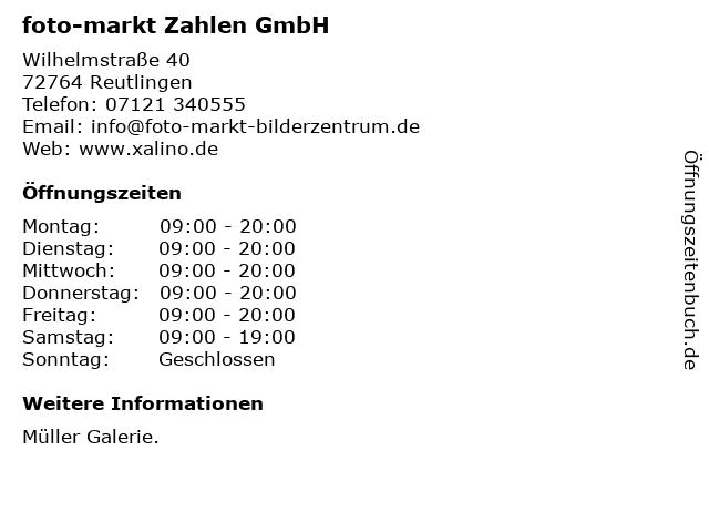 foto-markt Zahlen GmbH in Reutlingen: Adresse und Öffnungszeiten