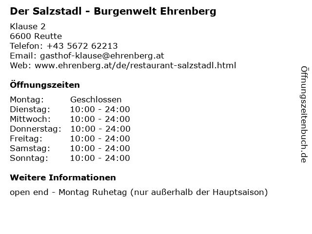Der Salzstadl - Burgenwelt Ehrenberg in Reutte: Adresse und Öffnungszeiten
