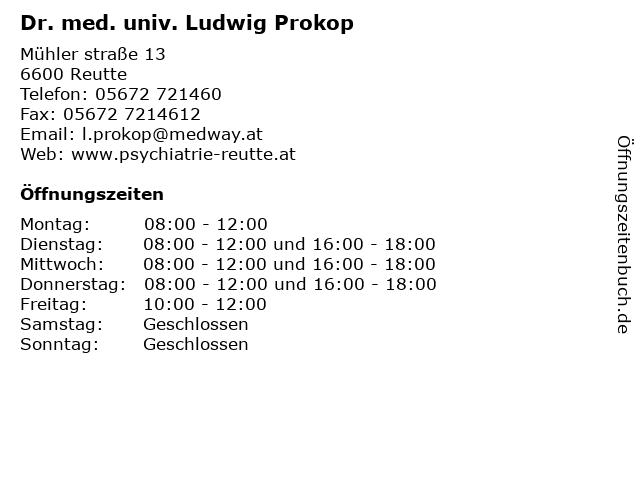 Dr. med. univ. Ludwig Prokop in Reutte: Adresse und Öffnungszeiten