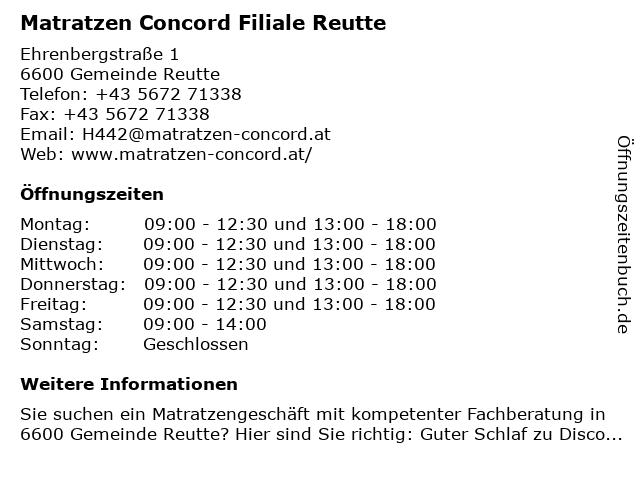 Matratzen Concord GmbH in Reutte: Adresse und Öffnungszeiten