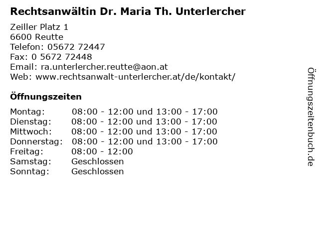 Rechtsanwältin Dr. Maria Th. Unterlercher in Reutte: Adresse und Öffnungszeiten