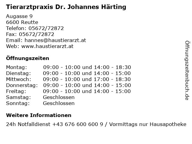 Tierarztpraxis Dr. Johannes Härting in Reutte: Adresse und Öffnungszeiten