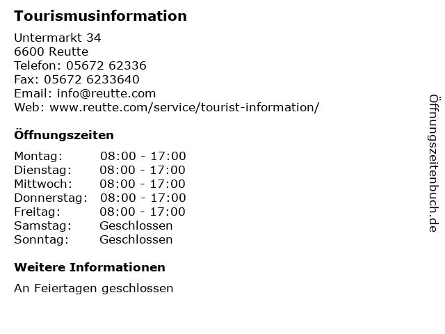 Tourismusinformation in Reutte: Adresse und Öffnungszeiten