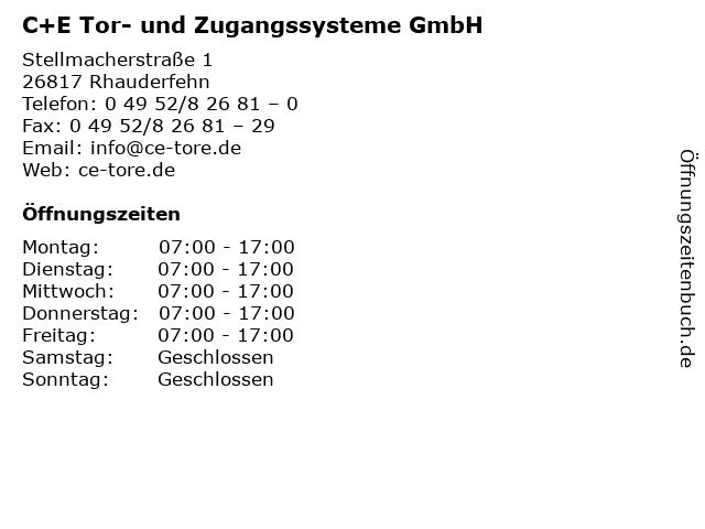 C+E Tor- und Zugangssysteme GmbH in Rhauderfehn: Adresse und Öffnungszeiten