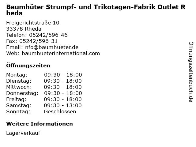 Baumhüter Strumpf- und Trikotagen-Fabrik Outlet Rheda in Rheda: Adresse und Öffnungszeiten