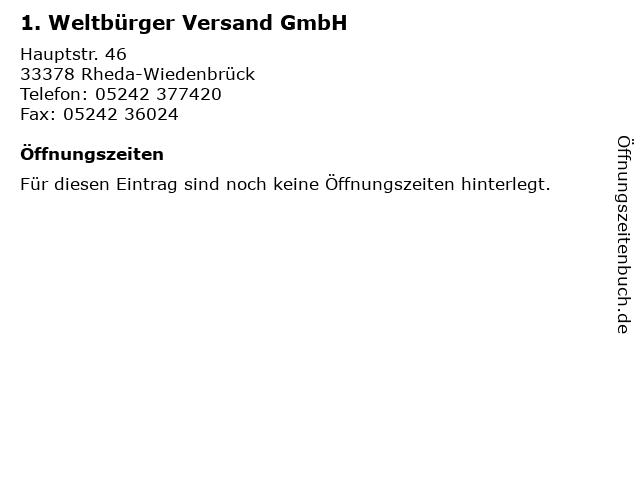 1. Weltbürger Versand GmbH in Rheda-Wiedenbrück: Adresse und Öffnungszeiten