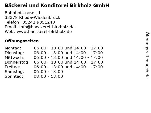 Bäckerei und Konditorei Birkholz GmbH in Rheda-Wiedenbrück: Adresse und Öffnungszeiten