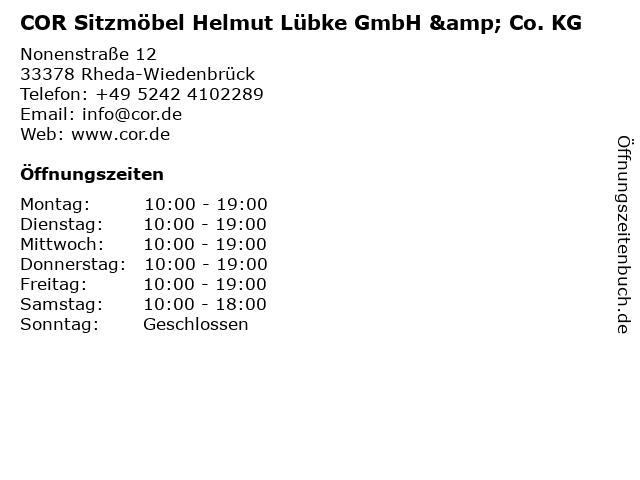 ᐅ öffnungszeiten Cor Sitzmöbel Helmut Lübke Gmbh Co Kg
