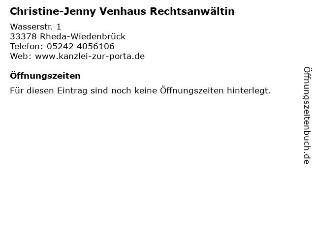 Christine-Jenny Venhaus Rechtsanwältin in Rheda-Wiedenbrück: Adresse und Öffnungszeiten