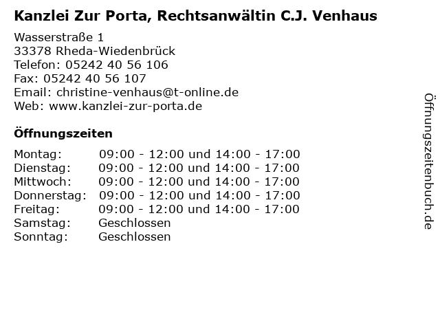 Kanzlei Zur Porta, Rechtsanwältin C.J. Venhaus in Rheda-Wiedenbrück: Adresse und Öffnungszeiten