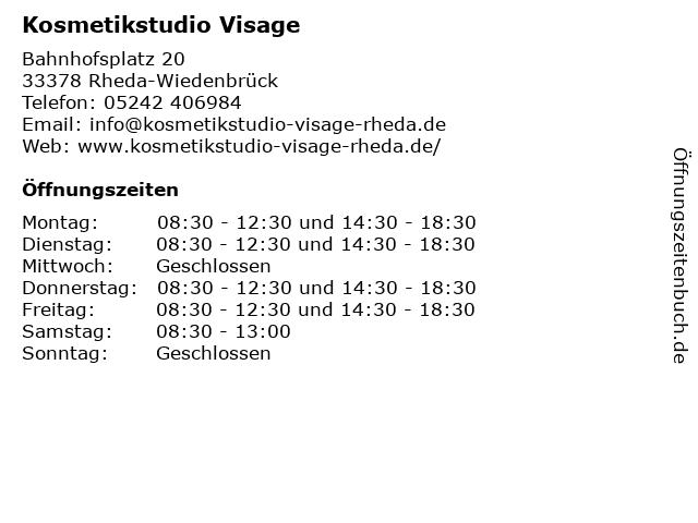Kosmetikstudio Visage in Rheda-Wiedenbrück: Adresse und Öffnungszeiten