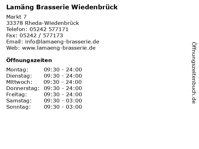 Lamäng Brasserie Wiedenbrück in Rheda-Wiedenbrück: Adresse und Öffnungszeiten