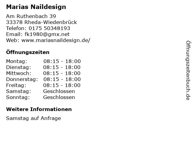 Marias Naildesign in Rheda-Wiedenbrück: Adresse und Öffnungszeiten